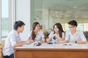 asian students studying at university